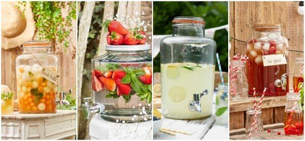 fontaine à limonade bonbonnes à boissons en verre