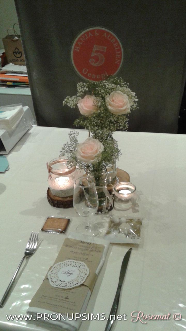 centre de table rosemat mariage champetre petit budget