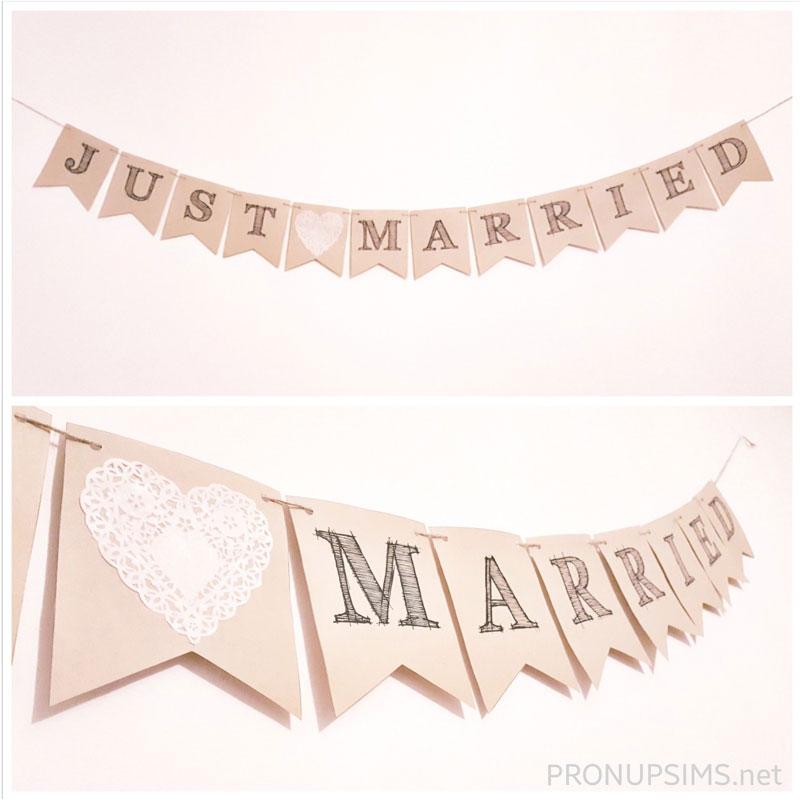 bannière banderole vive les mariés just married diy