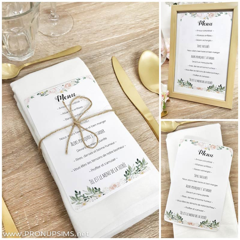 menu mariage DIY