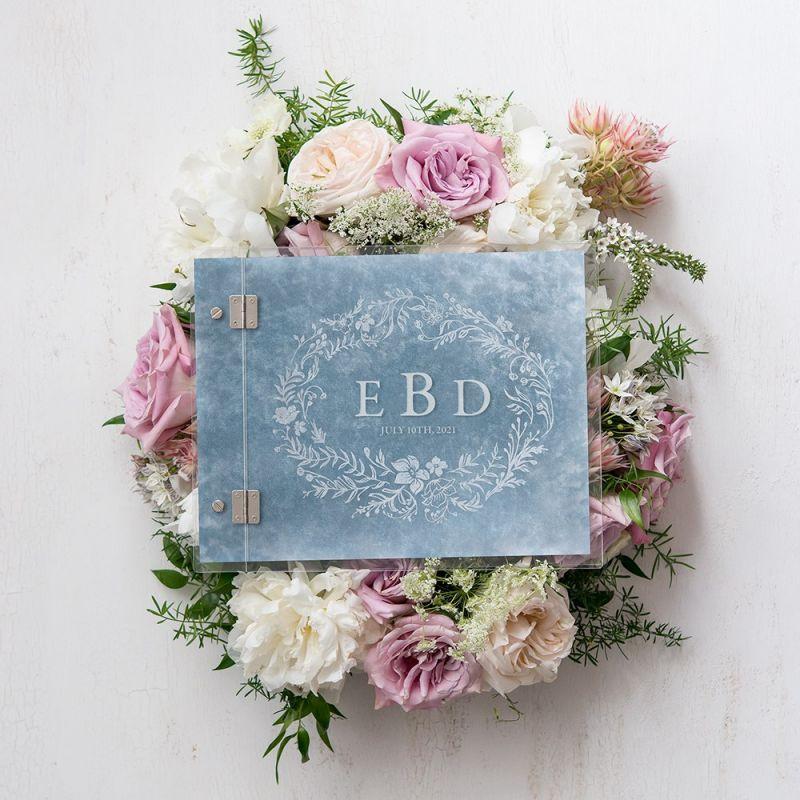 inspiration thème mariage dusty blue bleu poudré pronupsims livre d'or décoration