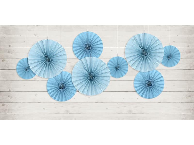 décoration rosace papier murale inspiration thème mariage dusty blue bleu poudré pronupsims