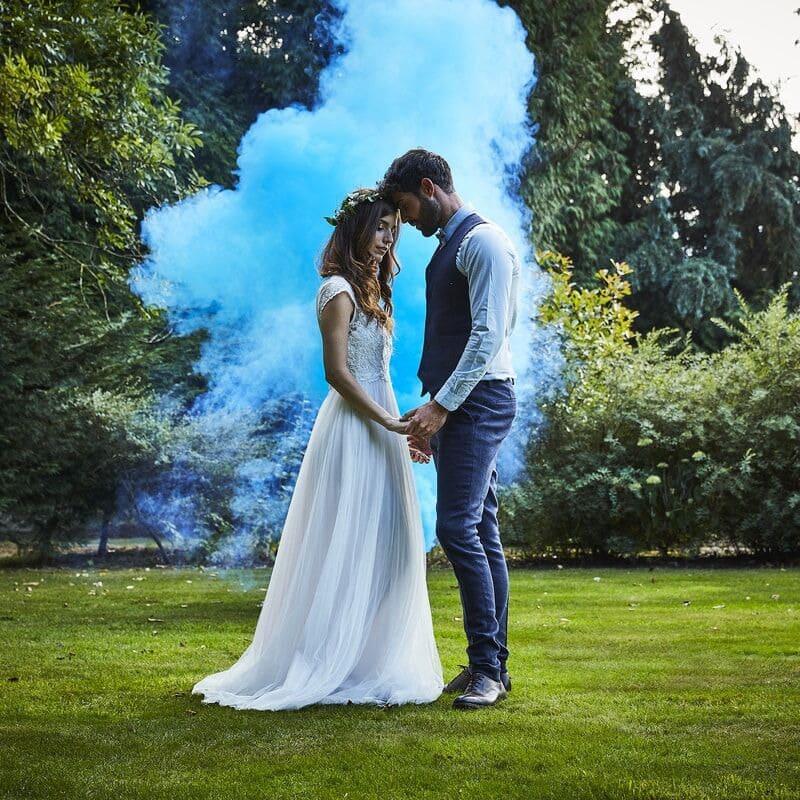 fumigene inspiration thème mariage bleu pronupsims