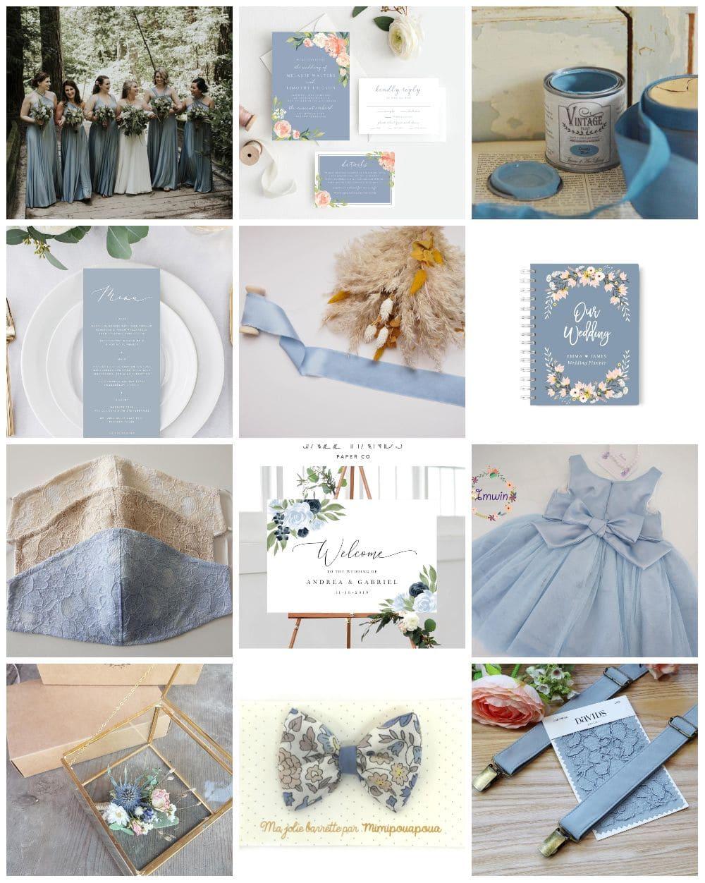 inspiration thème mariage dusty blue bleu poudré pronupsims