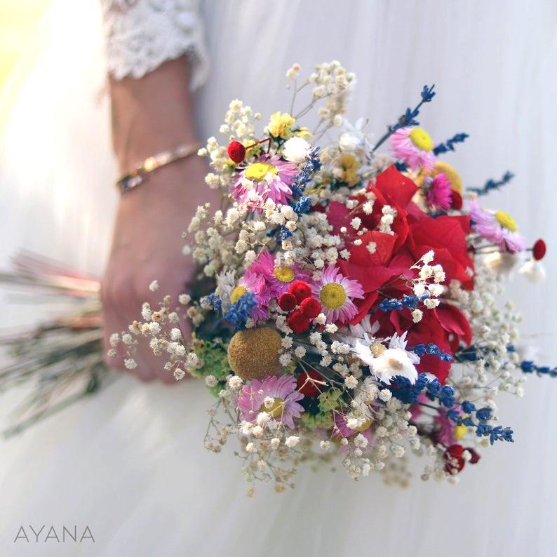 mariage summer été bouquet mariée fleurs séchées